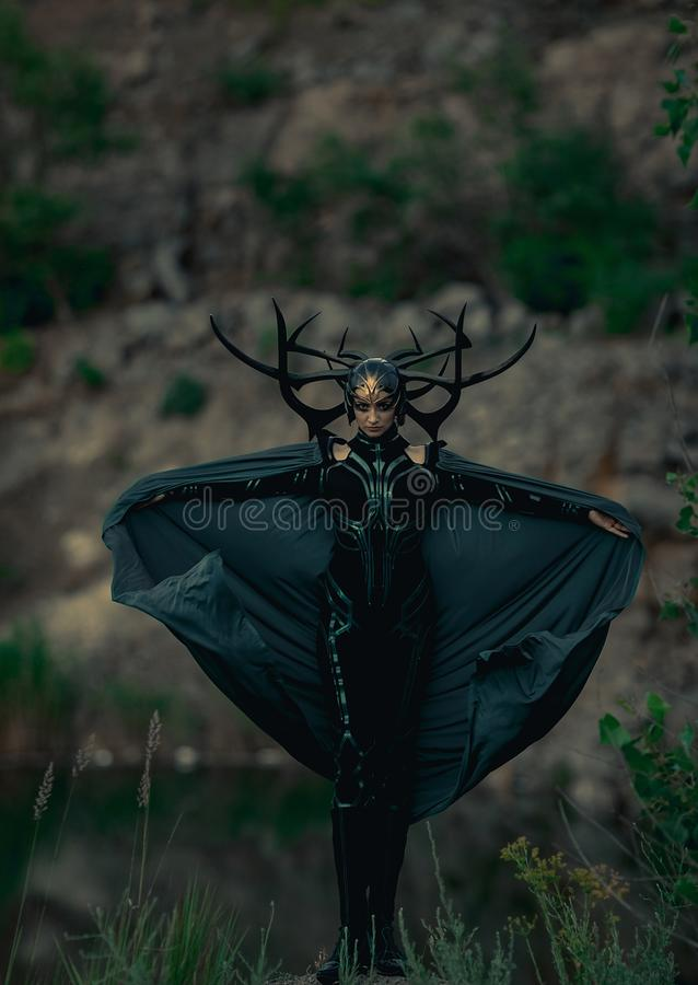 Dnipro, Ukraine- June 5, 2019: Cosplayer portrays death goddess Hela. From Marvel Comics stock photo