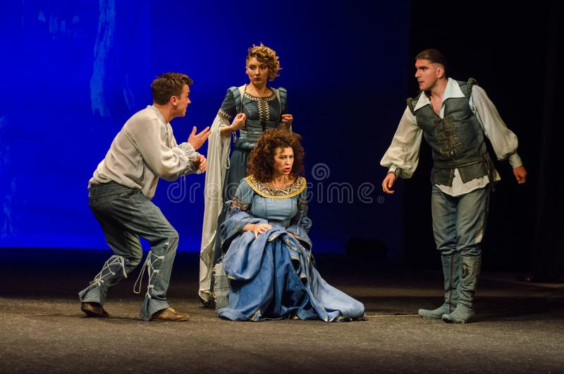 The Comedy of Errors. DNIPRO, UKRAINE - SEPTEMBER 30, 2017: The Comedy of Errors by William Shakespeare performed by members of the Chernihiv Regional Academic stock photo