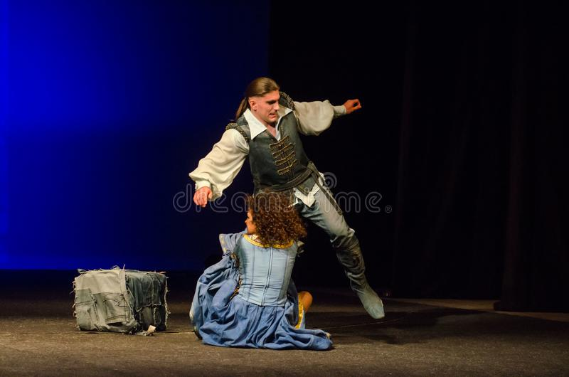 The Comedy of Errors. DNIPRO, UKRAINE - SEPTEMBER 30, 2017: The Comedy of Errors by William Shakespeare performed by members of the Chernihiv Regional Academic stock image