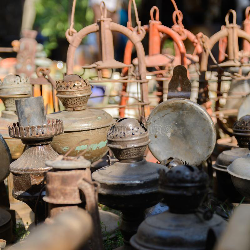 Dnipro, UKRAINE - September 2017: Flea market in Dnipro. Old vintage stuff for sale. Different used products: gas lamps royalty free stock photos