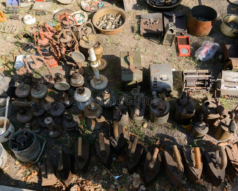 Dnipro, UKRAINE - September 2017: Flea market in Dnipro. Old vintage stuff for sale. Different used products: gas lamps stock image