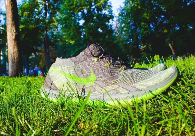 Dnipropetrovsk, Украина - 21-ое августа 2016: Новые ботинки Найк стиля на зеленой траве - иллюстративной передовице стоковое изображение rf