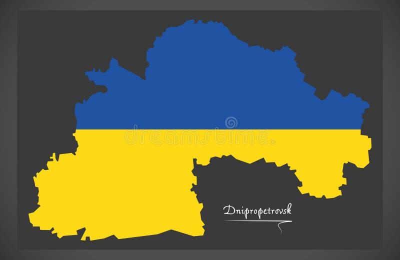 Dnipropetrovsk map of Ukraine with Ukrainian national flag illus. Dnipropetrovsk map of Ukraine with Ukrainian national flag royalty free illustration