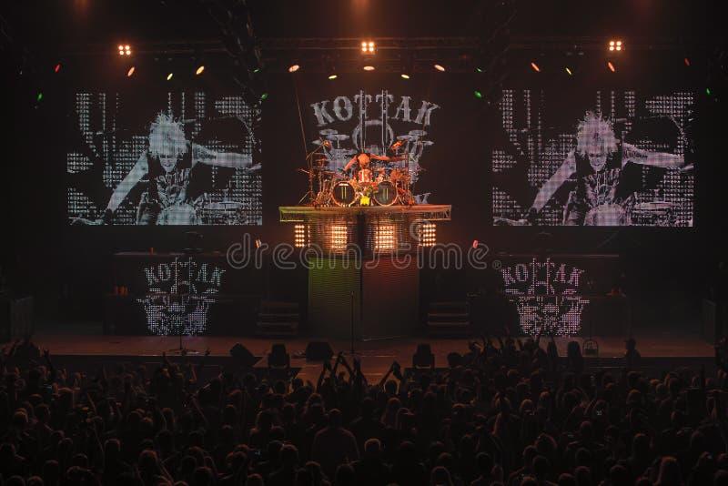 Dnipropetrovsk, Ucraina - 31 ottobre 2012: Banda rock degli scorpioni fotografie stock libere da diritti