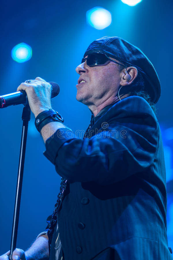 DNIPROPETROVSK, UKRAINE – OCTOBER 31: Klaus Meine. From Scorpions rock band performs live at Sports Palace SC Meteor. Final tour concert on October 31 royalty free stock photo