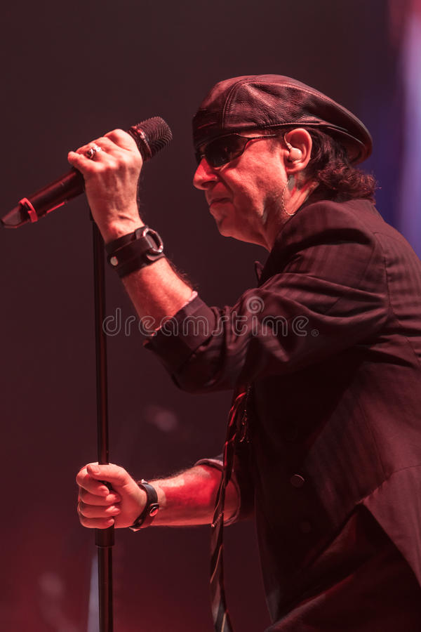 DNIPROPETROVSK, UKRAINE – OCTOBER 31: Klaus Meine. From Scorpions rock band performs live at Sports Palace SC Meteor. Final tour concert on October 31 stock photos