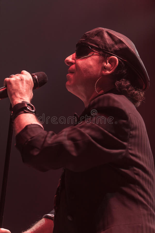 DNIPROPETROVSK, UKRAINE – OCTOBER 31: Klaus Meine. From Scorpions rock band performs live at Sports Palace SC Meteor. Final tour concert on October 31 stock photo