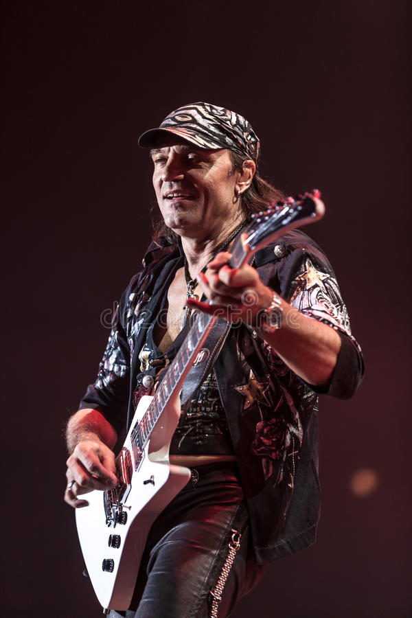 DNIPROPETROVSK, UKRAINE – OCTOBER 31: Matthias. Jabs from Scorpions rock band performs live at Sports Palace SC Meteor. Final tour concert on October 31 royalty free stock photos