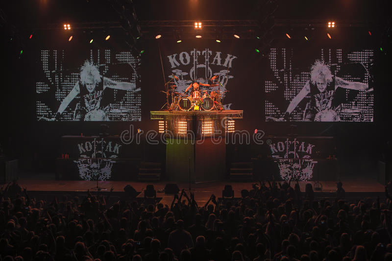 Dnipropetrovsk, Ukraine - October 31, 2012: Scorpions rock band. Performing live at Sports Palace SC Meteor. Final tour concert on October 31, 2012 in royalty free stock photos