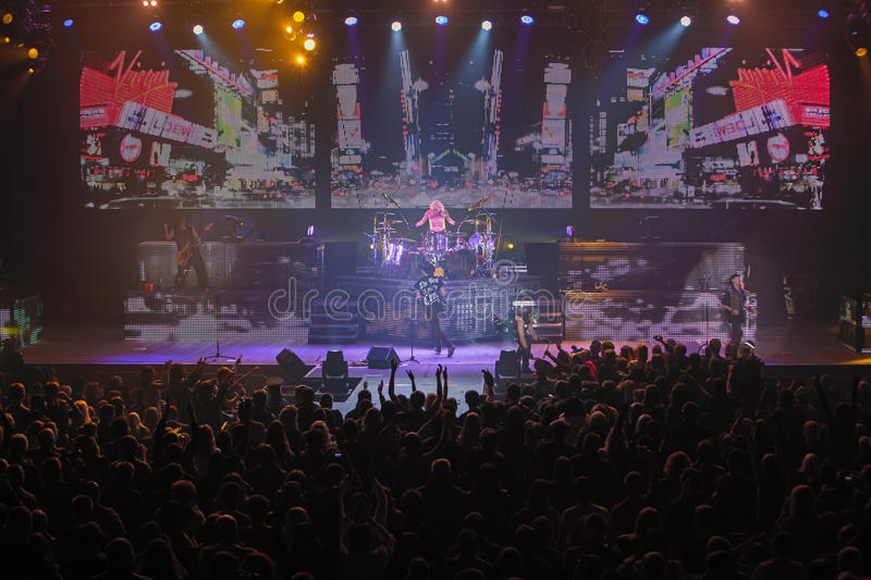 Dnipropetrovsk, Ukraine - October 31, 2012: Scorpions rock band. Performing live at Sports Palace SC Meteor. Final tour concert on October 31, 2012 in royalty free stock image