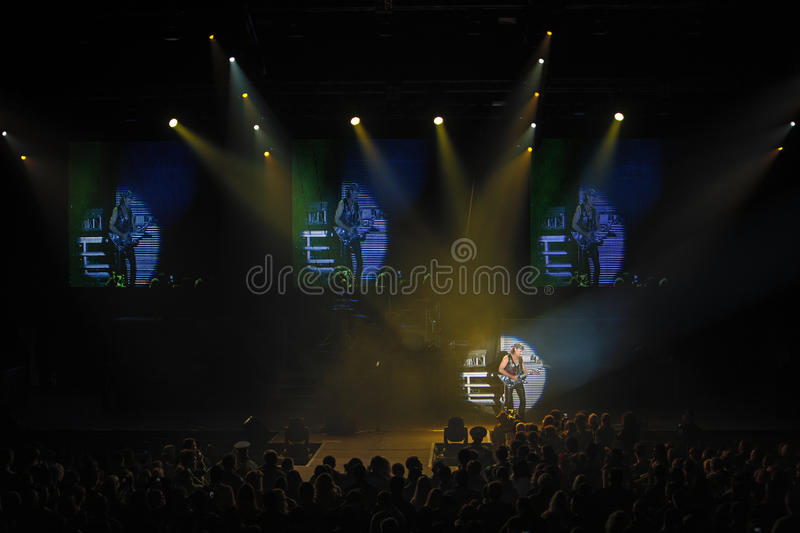 Dnipropetrovsk, Ukraine - October 31, 2012: Scorpions rock band. Performing live at Sports Palace SC Meteor. Final tour concert on October 31, 2012 in stock photo