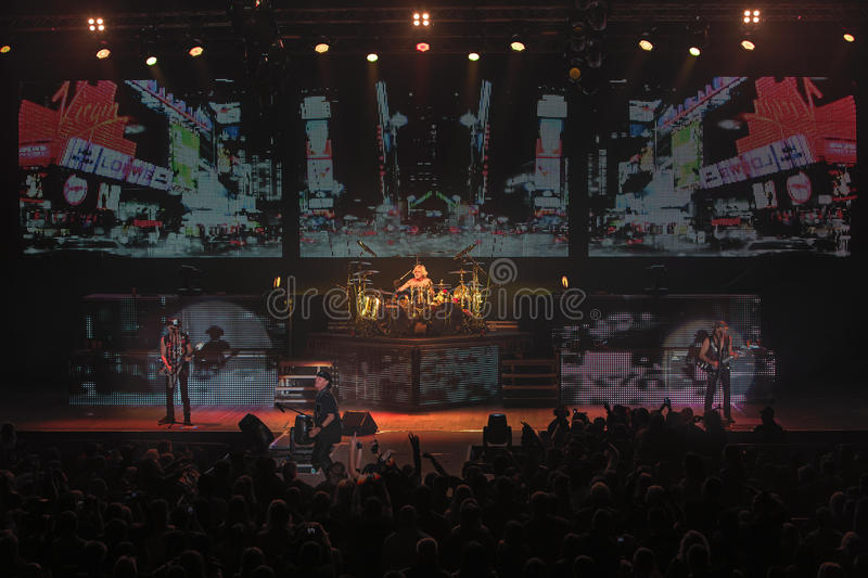 Dnipropetrovsk, Ukraine - October 31, 2012: Scorpions rock band. Performing live at Sports Palace SC Meteor. Final tour concert on October 31, 2012 in stock images