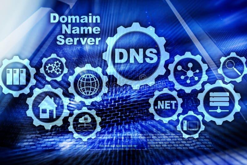 DNS Domain Name System Communication de Web de r?seau Internet et concept de technologie num?rique illustration stock