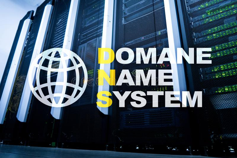 Dns - domain name system, server and protocol. Internet and digital technology concept on server room background.  royalty free stock photos