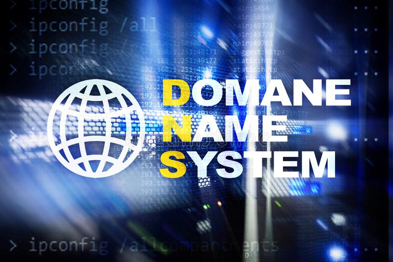 Dns - domain name system, server and protocol. Internet and digital technology concept on server room background.  stock photos