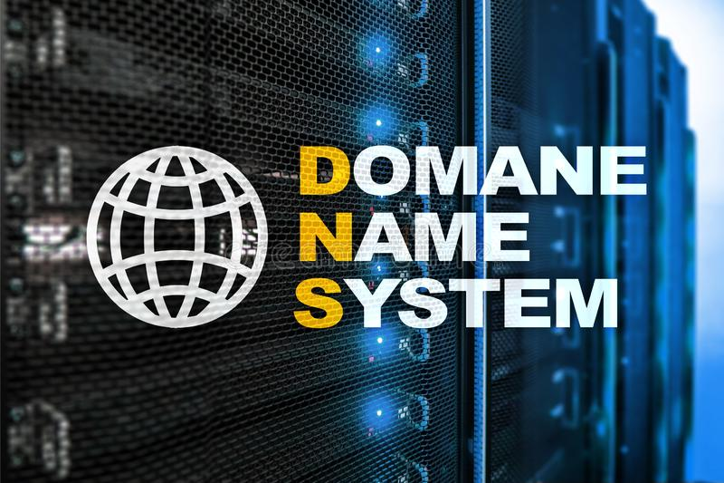Dns - domain name system, server and protocol. Internet and digital technology concept on server room background.  royalty free stock images