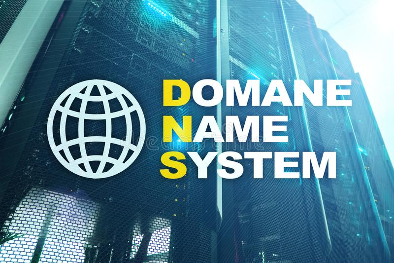 Dns - domain name system, server and protocol. Internet and digital technology concept on server room background.  royalty free stock photo