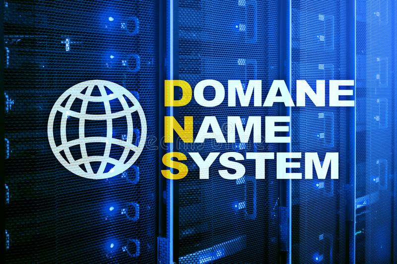 Dns - domain name system, server and protocol. Internet and digital technology concept on server room background.  stock photography