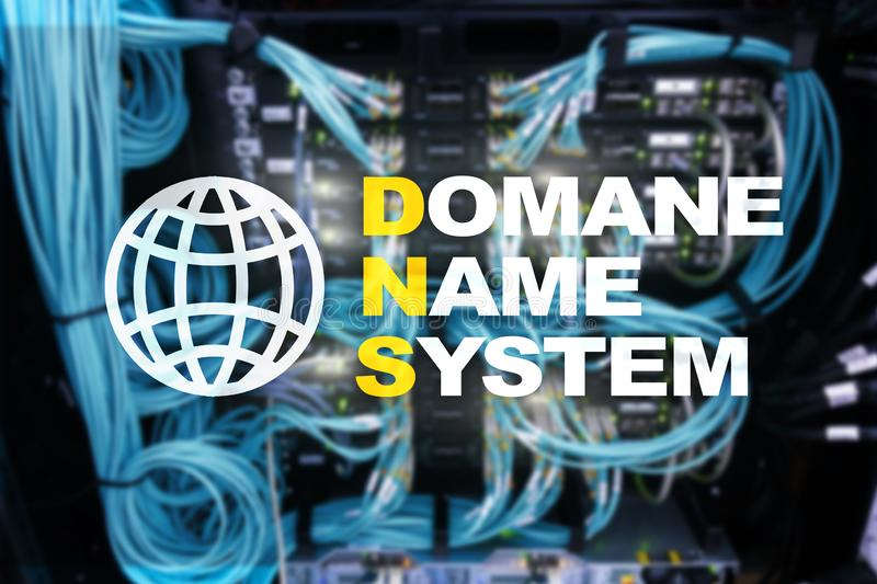 Dns - domain name system, server and protocol. Internet and digital technology concept on server room background.  stock images