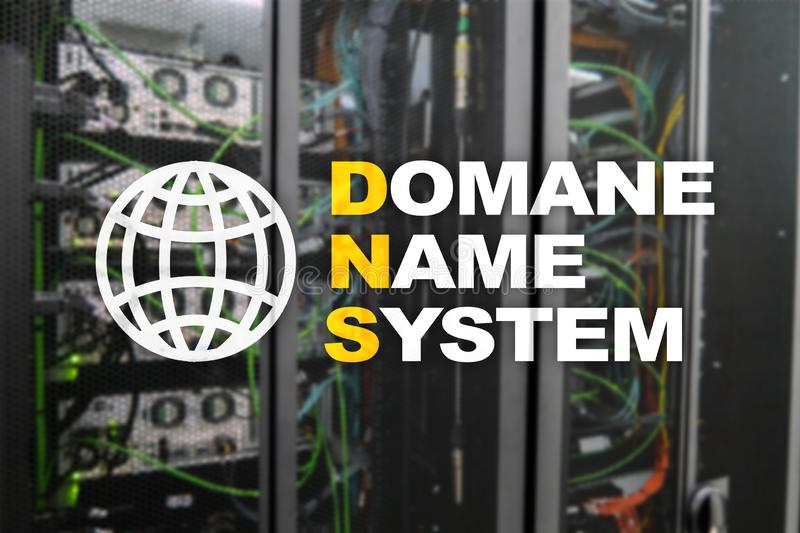 Dns - domain name system, server and protocol. Internet and digital technology concept on server room background.  stock photo