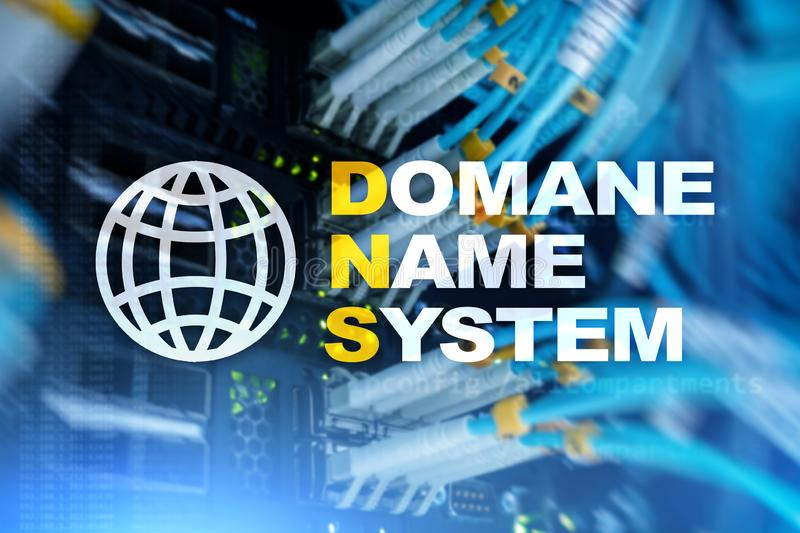 Dns - domain name system, server and protocol. Internet and digital technology concept on server room background. Dns - domain name system, server and protocol royalty free illustration