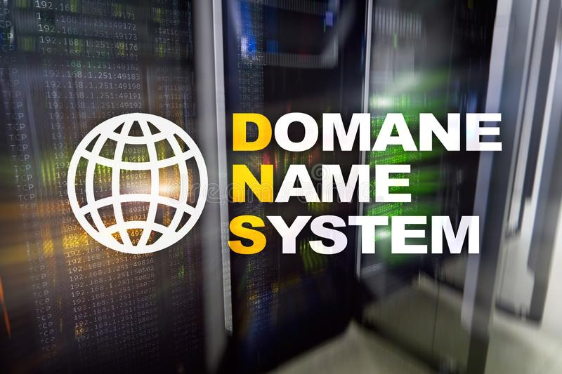 Dns - domain name system, server and protocol. Internet and digital technology concept on server room background. Dns - domain name system, server and protocol stock photo