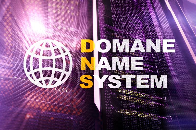 Dns - domain name system, server and protocol. Internet and digital technology concept on server room background. Dns - domain name system, server and protocol royalty free stock images