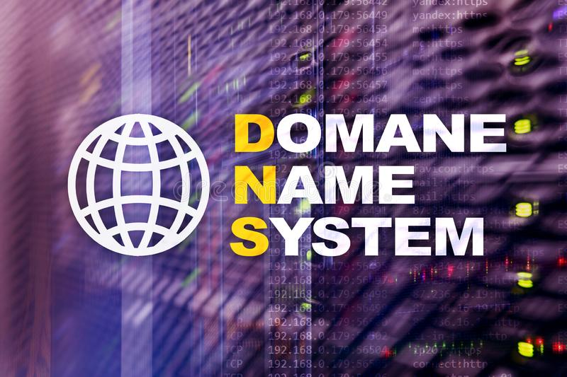 Dns - domain name system, server and protocol. Internet and digital technology concept on server room background. Dns - domain name system, server and protocol royalty free stock photo