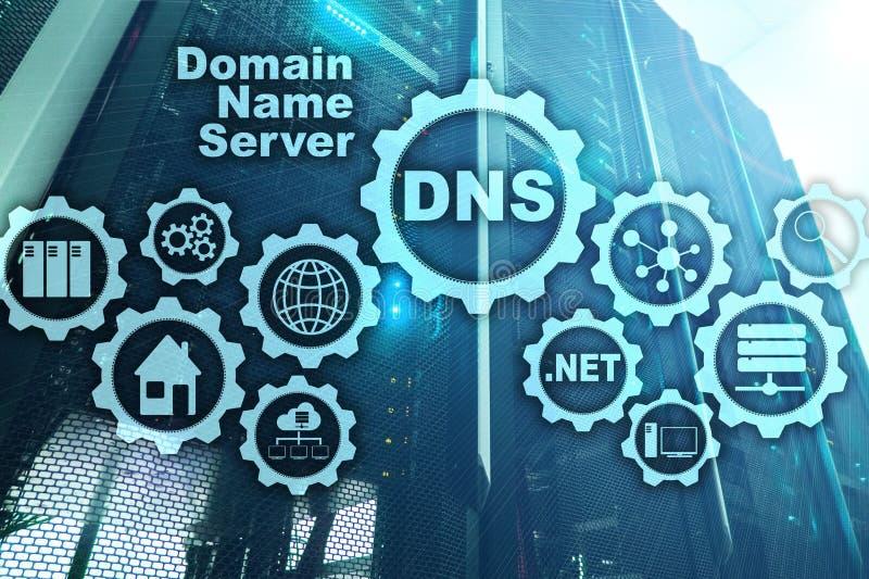 DNS Domeinnaamsysteem De Mededeling van het netwerkweb Internet en digitaal technologieconcept stock afbeeldingen
