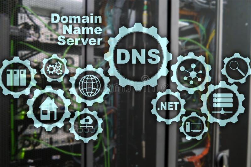 DNS Domeinnaamsysteem De Mededeling van het netwerkweb Internet en digitaal technologieconcept stock illustratie