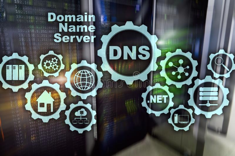 DNS Domeinnaamsysteem De Mededeling van het netwerkweb Internet en digitaal technologieconcept stock foto's