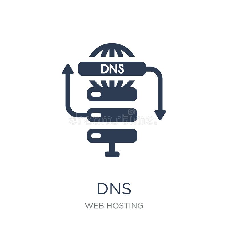 Dns icon. Trendy flat vector Dns icon on white background from w. Eb hosting collection, vector illustration can be use for web and mobile, eps10 royalty free illustration