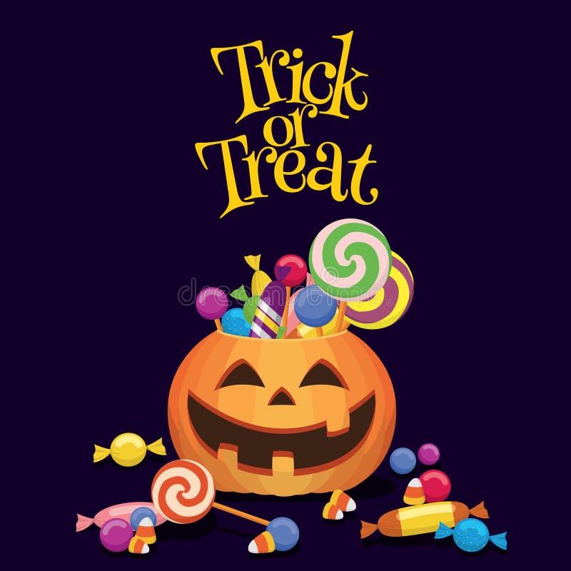 Doçura ou travessura dos doces de Jack-0-Lantern ilustração stock