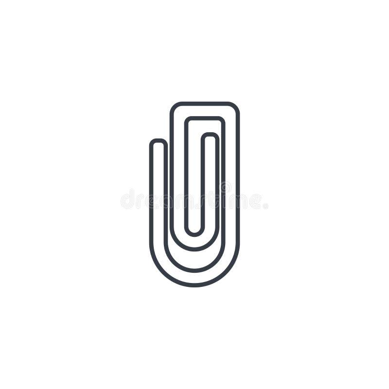 Dołącza, papierowej klamerki cienka kreskowa ikona Liniowy wektorowy symbol ilustracji