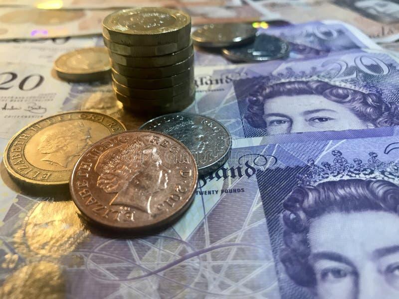 Do ï do ¼ libras britânicas do fundo de Œcoins imagem de stock