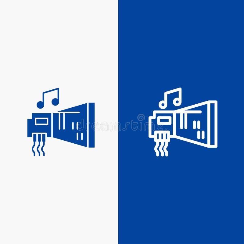 Do ícone contínuo azul da linha e do Glyph de bandeira do ícone contínuo do áudio, do dinamitador, do dispositivo, do hardware, d ilustração stock