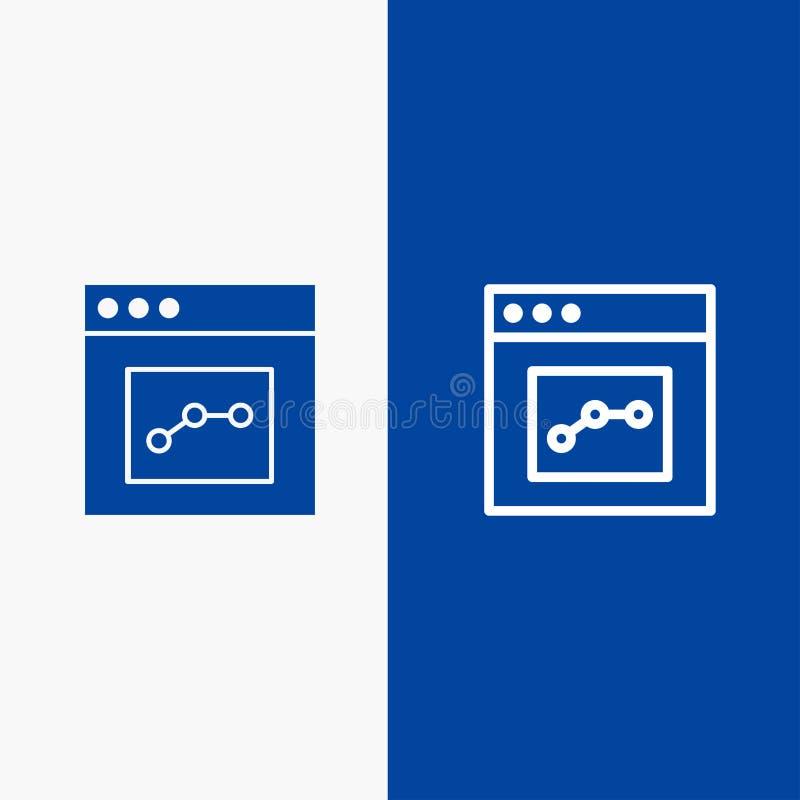 Do ícone contínuo azul da linha e do Glyph de bandeira do ícone contínuo da analítica, da comunicação, da relação, da linha de us ilustração royalty free