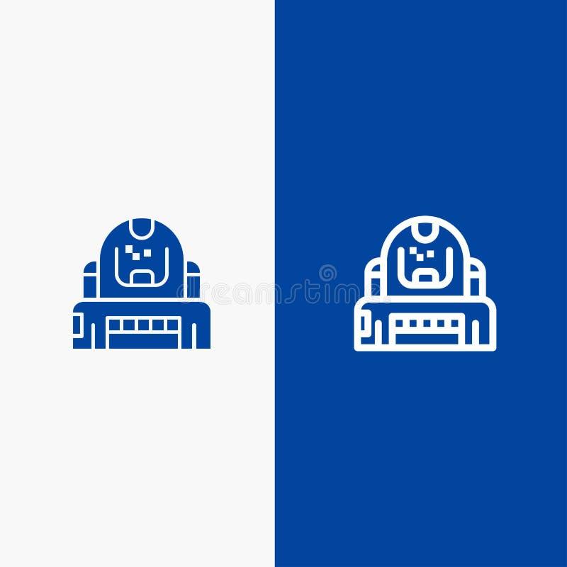 Do ícone contínuo azul da linha e do Glyph de bandeira do ícone contínuo do astronauta, do cosmonauta, do explorador, do capacete ilustração do vetor
