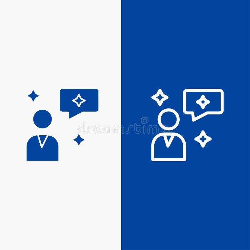 Do ícone contínuo azul da linha e do Glyph de bandeira do ícone contínuo do bate-papo, da conversa, da relação da linha e do Glyp ilustração stock