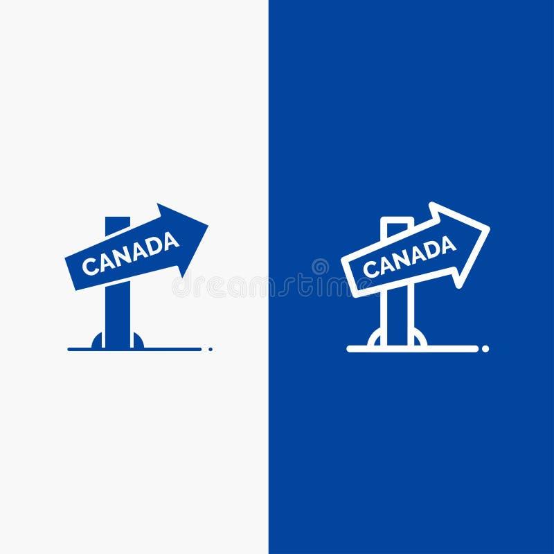 Do ícone contínuo azul da linha e do Glyph de bandeira do ícone contínuo de Canadá, de sentido, de lugar, de linha do sinal e de  ilustração stock