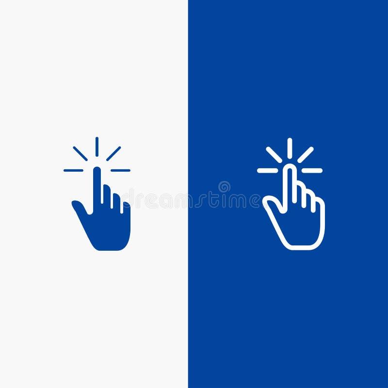 Do ícone contínuo azul da linha e do Glyph de bandeira do ícone contínuo do clique, do dedo, do gesto, dos gestos, da mão, da lin ilustração do vetor