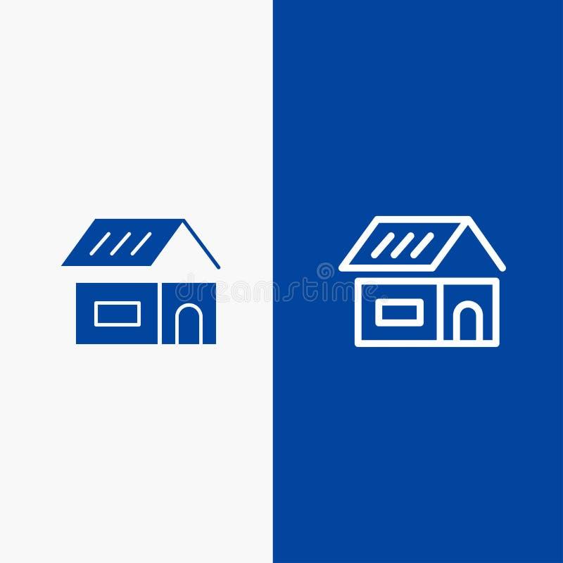 Do ícone contínuo azul da linha e do Glyph de bandeira do ícone contínuo da construção, da construção, da construção, da linha da ilustração royalty free