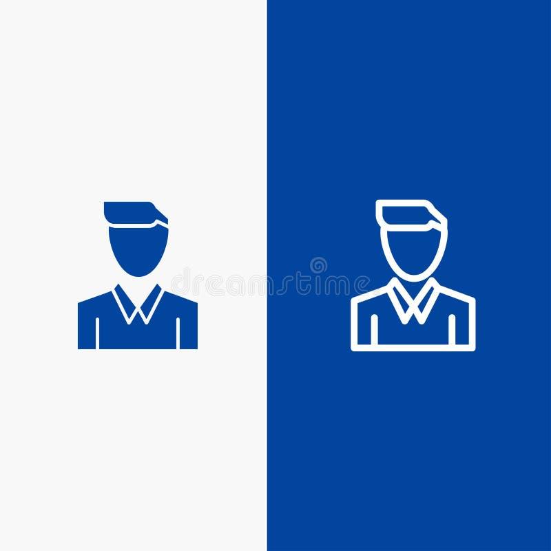 Do ícone contínuo azul da linha e do Glyph de bandeira do ícone contínuo da conta, do ser humano, do homem, da pessoa, da linha d ilustração royalty free