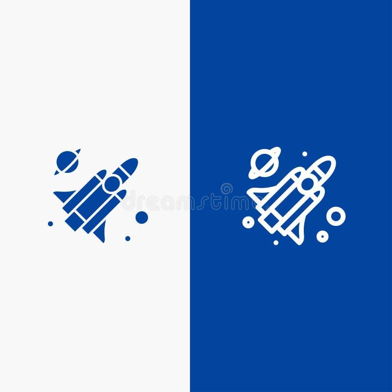 Do ícone contínuo azul da linha e do Glyph de bandeira do ícone contínuo da mosca, do míssil, da linha da ciência e do Glyph band ilustração stock