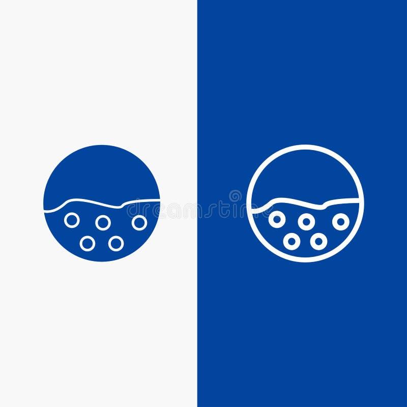 Do ícone contínuo azul da linha e do Glyph de bandeira do ícone contínuo da linha do pigmento, da pele, dos cuidados com a pele,  ilustração do vetor