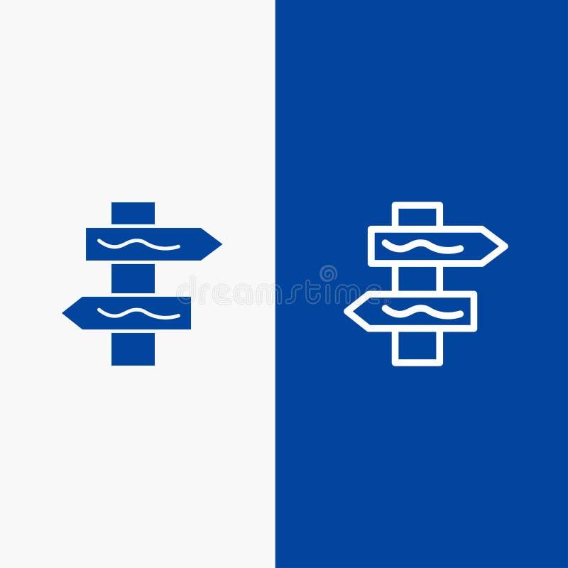 Do ícone contínuo azul da linha e do Glyph de bandeira do ícone contínuo posicione, do navegação, da linha da estrada e do Glyph  ilustração do vetor