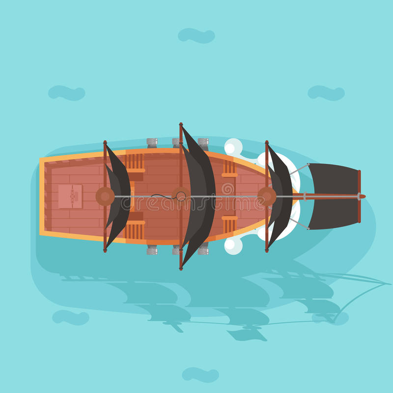 Do ícone de madeira do jogo da vela do barco do navio do cão de mar do oceano do corsário do obstrucionismo do corsário do pirata ilustração do vetor