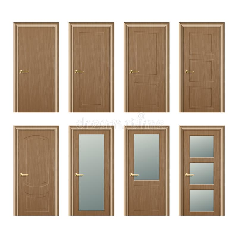 Do ícone de madeira marrom fechado diferente realístico da porta do vetor close up ajustado isolado no fundo branco Elementos de ilustração stock
