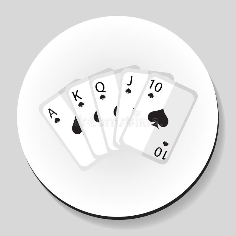 Do ícone instantâneo real da etiqueta da combinação do pocker dos cartões de jogo estilo liso Ilustração do vetor ilustração do vetor