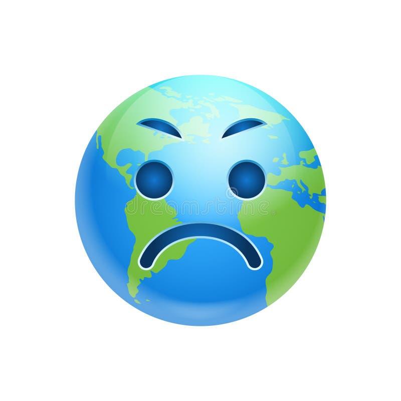 Do ícone irritado da emoção da cara da terra dos desenhos animados expressão engraçada do planeta isolada ilustração stock